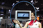 An exhibitor gives a demonstration of Lenovo's prototype Think Mirror at CEATEC Japan 2016 on October 3, 2016, Tokyo, Japan. CEATEC Japan is a cutting-edge IT and electronics exhibition. This year 648 companies and organisations are taking part from 24 different countries and the show is open to the public from October 4 to 7. (Photo by Rodrigo Reyes Marin/AFLO)