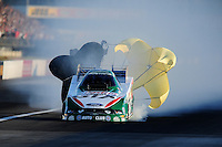 Sept. 3, 2010; Clermont, IN, USA; NHRA funny car driver Ashley Force Hood during qualifying for the U.S. Nationals at O'Reilly Raceway Park at Indianapolis. Mandatory Credit: Mark J. Rebilas-