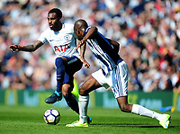 Tottenham Hotspur's Danny Rose battles with West Bromwich Albion's Allan-Romeo Nyom<br /> <br /> Photographer Ashley Crowden/CameraSport<br /> <br /> The Premier League - West Bromwich Albion v Tottenham Hotspur - Saturday 5th May 2018 - The Hawthorns - West Bromwich<br /> <br /> World Copyright &copy; 2018 CameraSport. All rights reserved. 43 Linden Ave. Countesthorpe. Leicester. England. LE8 5PG - Tel: +44 (0) 116 277 4147 - admin@camerasport.com - www.camerasport.com