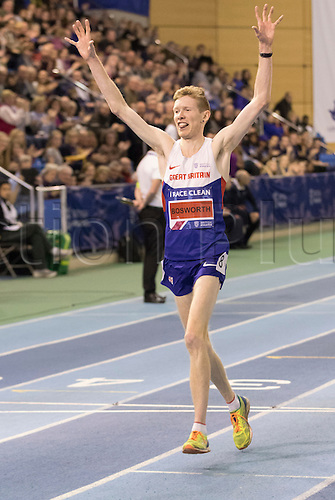 28.02.2016. EIS Sheffield, Sheffield, England. British Indoor Athletics Championships Day Two. Tom Bosworth (Tunbridge) celebrates as he comes over the finish alone after winning the 3,000m Walk British Title.