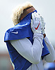 Odell Beckham, Jr. #13, New York Giants wide receiver, covers his face with his jersey as he cools off during a hot and humid day of training camp at Quest Diagnostics Training Center in East Rutherford, NJ on Friday, Aug. 3, 2018.