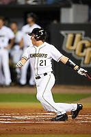 UCF Knights shortstop Brennan Bozeman (21) at bat during a game against the Siena Saints on February 17, 2017 at UCF Baseball Complex in Orlando, Florida.  UCF defeated Siena 17-6.  (Mike Janes/Four Seam Images)