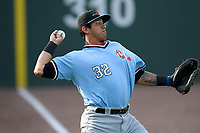 Catcher Melvin Novoa (32) of the Hickory Crawdads warms up before a game against the Greenville Drive on Wednesday, May 15, 2019, at Fluor Field at the West End in Greenville, South Carolina. Greenville won, 6-5. (Tom Priddy/Four Seam Images)