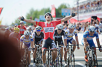 a roaring Jens Debusschere (BEL/Lotto-Belisol) crosses the finish line victoriously<br /> <br /> Belgian Championships 2014 - Wielsbeke<br /> Elite Men