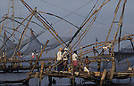 Chinese fishing nets in Cochin Kerela in India.Legend has it that they were brought from the court of Kublai Khan.