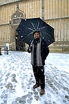 Ben Okri in the snow at the Bodleian Library during the Sunday Times Oxford Literary Festival, UK, 16 - 24 March 2013. <br />