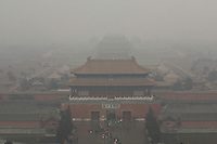 01 March 2012 - Beijing, China-  The north gate of the Forbidden City disappears in the smog that covers Beijing for days.<br /> Beijing authorities have decided to increase the  monitoring of fine particles of air pollution in largest towns. Specialists say only 20% of chinese cities will meet the new air standards. Photo credit: David Gourhan