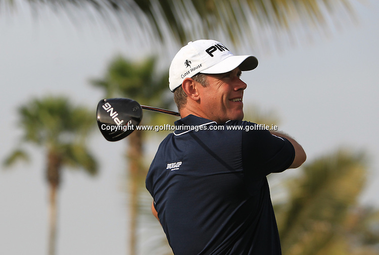 Lee Westwood, Khalfan Al Kaabi, Alan Thomas and Alice Cooper ahead of the 2013 Omega Dubai Desert Classic being played over the Majlis Golf Course, Emirates Golf Course from 31st January to 3rd February 2013: Picture Stuart Adams www.golftourimages.com:  30th January 2013