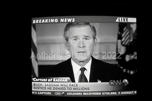Paris, France.December 14, 2003..US President George W. Bush speaks on international television after US troops capture of the former Iraqi leader Saddam Hussein.