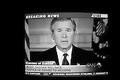 Paris, France.December 14, 2003..US President George W. Bush speaks on international television after US troops capture of the former Iraqi leader Saddam Hussein.