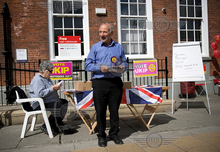 United Kingdom Independence Party (UKIP) campaigning for the general election on the streets of Didsbury, Manchester.