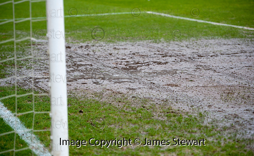 One of the goal mouths at Dens Park before calling the game off just before 2.00 pm by referee Craig Thoms