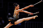Uzume Kawasaki (JPN), <br /> AUGUST 27, 2018 - Gymnastics - Rhythmic : <br /> Individual All-Around Qualification Clubs <br /> at JIEX Kemayoran Hall D <br /> during the 2018 Jakarta Palembang Asian Games <br /> in Jakarta, Indonesia. <br /> (Photo by Naoki Morita/AFLO SPORT)