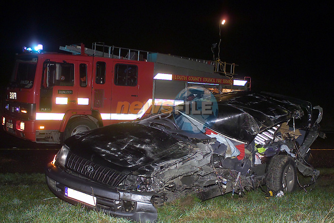 the remains of the Toyota Jeep that  was involved ina road addident on the Dunleer By Pass on Sunday Night..Picture Fran Caffrey Newsfile...This Picture is sent to you by:..Newsfile Ltd.The View, Millmount Abbey, Drogheda, Co Louth, Ireland..Tel: +353419871240.Fax: +353419871260.GSM: +353862500958.ISDN: +353419871010.email: pictures@newsfile.ie.www.newsfile.ie