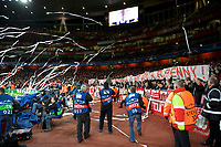 Fans throw paper rolls onto the pitch before the UEFA Champions League round of 16 match between Arsenal and Bayern Munich at the Emirates Stadium, London, England on 7 March 2017. Photo by Alan  Stanford / PRiME Media Images.