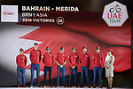 Bahrain-Merida team on stage at the inaugural UAE Tour 2019 opening ceremony and team presentation held in the Louvre Abu Dhabi, United Arab Emirates. 23rd February 2019.<br /> Picture: LaPresse/Fabio Ferrari | Cyclefile<br /> <br /> <br /> All photos usage must carry mandatory copyright credit (© Cyclefile | LaPresse/Fabio Ferrari)