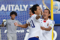 (L-R) Shusei Yamauchi, Shinji Makino (JPN), SEPTEMBER 02, 2011 - Beach Soccer : Shusei Yamauchi of Japan celebrates his goal with his teammate Shinji Makino during the FIFA Beach Soccer World Cup Ravenna-Italy 2011 Group D match between Japan 2-3 Mexico at Stadio del Mare, Marina di Ravenna, Italy, (Photo by Enrico Calderoni/AFLO SPORT) [0391]