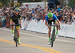 August 11, 2017 - Breckenridge, Colorado, U.S. -   After leading for the entire stage, Holowesko/Citadel's, T.J. Eisenhart, realizes that Cannondale's, Alex Howes, has won the second stage of the inaugural Colorado Classic cycling race, Breckenridge, Colorado.