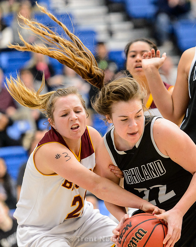 Trent Nelson  |  The Salt Lake Tribune<br /> Mountain View's Amber Hirchak (21) tries to rip the ball from the hands of Highland's Macy Wilson (22) as Mountain View faces Highland in the 4A state basketball tournament at Salt Lake Community College in Taylorsville, Tuesday February 17, 2015.