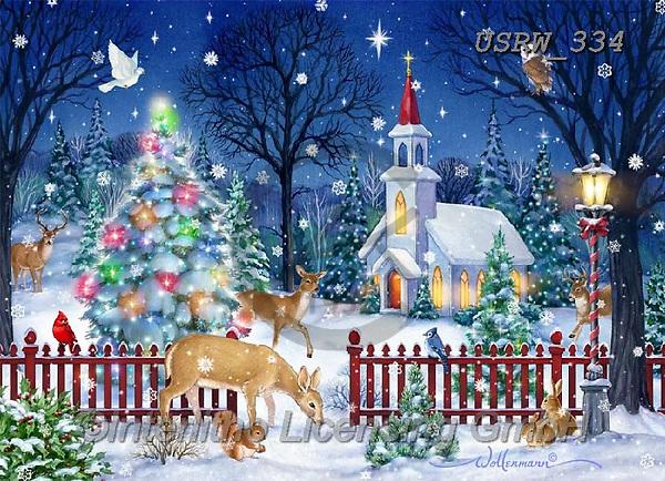 Randy, CHRISTMAS LANDSCAPES, WEIHNACHTEN WINTERLANDSCHAFTEN, NAVIDAD PAISAJES DE INVIERNO, paintings+++++Winter_Church_and_the_Animals-Boxed-CCards-sm,USRW334,#xl#