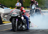 Nov. 8, 2012; Pomona, CA, USA: NHRA pro stock motorcycle rider Hector Arana Sr during qualifying for the Auto Club Finals at at Auto Club Raceway at Pomona. Mandatory Credit: Mark J. Rebilas-