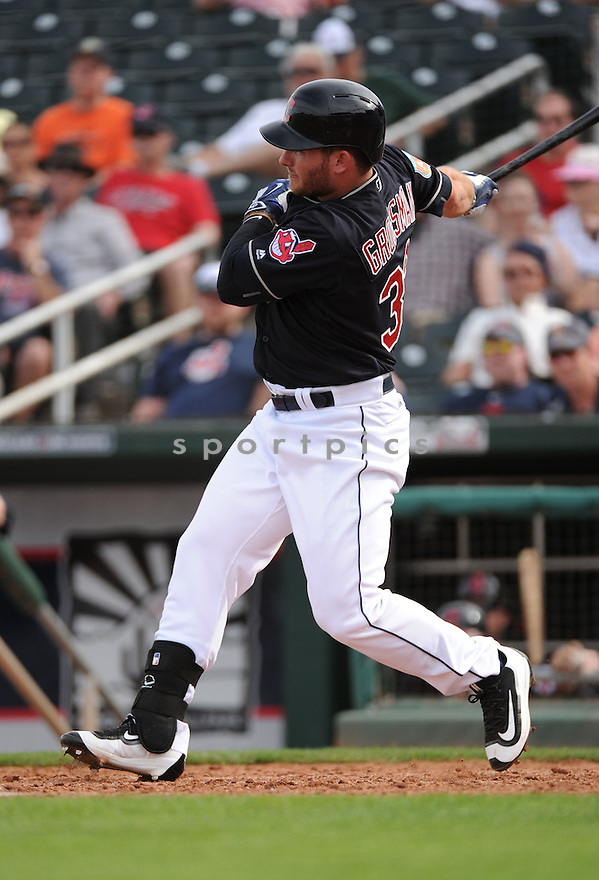 Cleveland Indians Robbie Grossman (33) during a pre-season game against the Cincinnati Reds on March 1, 2016 at Goodyear Ballpark in Goodyear, AZ. The Reds beat the Indians 6-5.