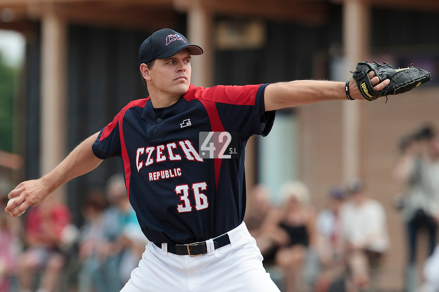 25 july 2010: Leos Kubat of Czech Republic pitches against France during France 6-1 victory over Czech Republic, in day 3 of the 2010 European Championship Seniors, in Neuenburg, Germany.