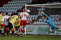 Mark Roberts of Stevenage header is saved by Adam Collin of Carlisle. - Stevenage v Carlisle United - npower League 1 - Lamex Stadium, Stevenage - 17th April, 2012. © Kevin Coleman 2012