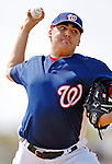 25 February 2007: Washington Nationals All-Star closing pitcher Chad Cordero throws some batting practice at their spring training facility in Viera, Florida.<br /> <br /> Mandatory Photo Credit: Ed Wolfstein Photo