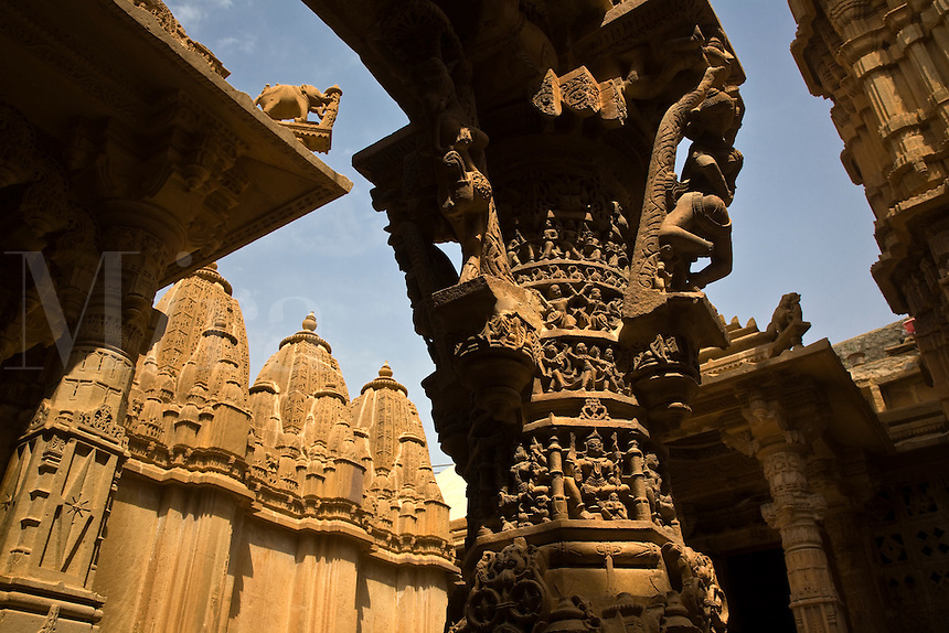 PILLAR at the entry of the CHANDRAPRABHU JAIN TEMPLE as seen inside the JAISALMER FORT - RAJASTHAN, INDIA