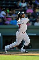 Third baseman Roldani Baldwin (10) of the Greenville Drive bats in a game against the Columbia Fireflies on Sunday, April 24, 2016, at Fluor Field at the West End in Greenville, South Carolina. Greenville won, 5-1. (Tom Priddy/Four Seam Images)
