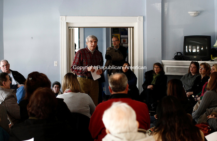 Woodbury, CT- 04 January 2014-010414CM03-  Richard Reimold, talks with a group of Woodbury residents during a newly  formed Woodbury Community Theatre at the Woodbury Rec house Saturday afternoon.  The group, under the Parks and Recreation Department, held it's first organized meeting of the year.   Christopher Massa Republican-American