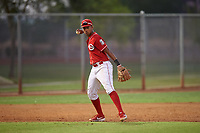 AZL Reds third baseman Debby Santana (52) throws to first base during an Arizona League game against the AZL Athletics Green on July 21, 2019 at the Cincinnati Reds Spring Training Complex in Goodyear, Arizona. The AZL Reds defeated the AZL Athletics Green 8-6. (Zachary Lucy/Four Seam Images)