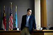 Carlo Robustelli, aide to outgoing Chapel Hill Mayor Kevin Foy, in the council chambers on the last official day of his service to Mayor Foy, Monday, Dec. 7, 2009.