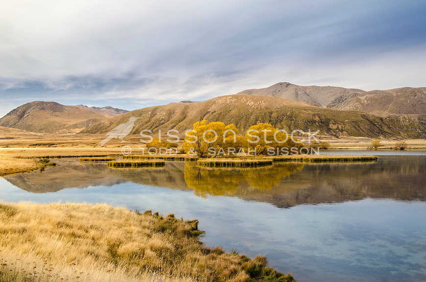 Autumn, Ahuriri Valley, New Zealand - stock photo, canvas, fine art print