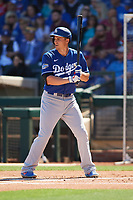 Corey Seager (5) of the Los Angeles Dodgers at bat during a Cactus League Spring Training game against the Texas Rangers on March 8, 2020 at Surprise Stadium in Surprise, Arizona. Rangers defeated the Dodgers 9-8. (Tracy Proffitt/Four Seam Images)