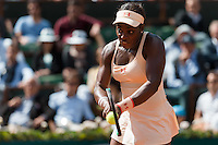 June 1, 2015: Sloane Stephens of United States of America in action in a 4th round match against Serena Williams of United States of America on day nine of the 2015 French Open tennis tournament at Roland Garros in Paris, France. Williams won 16 75 63. Sydney Low/AsteriskImages