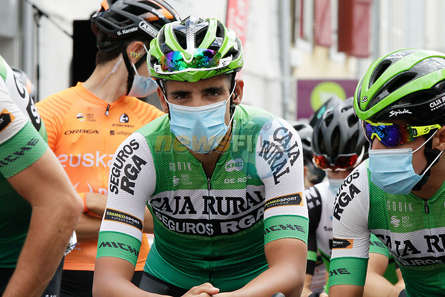 Caja Rural-Seguros RGA riders wait to start Stage 3 of the Route d'Occitanie 2020, running 163.5km from Saint-Gaudens to Col de Beyrède, France. 3rd August 2020. <br /> Picture: Colin Flockton | Cyclefile<br /> <br /> All photos usage must carry mandatory copyright credit (© Cyclefile | Colin Flockton)