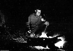 North East PA: Clark Stewart in front of a campfire while camping near North East PA.  Brady Stewart loved to experiment with cameras and film and the campfire scenes were unique.  He determined the right amount of flash powder along with exposure to capture Clark, the fire and his surroundings.