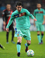 FUSSBALL   CHAMPIONS LEAGUE   SAISON 2011/2012   ACHTELFINALE  Bayer 04 Leverkusen - FC Barcelona              14.02.2012 Lionel Messi (Barca) Einzelaktion am Ball