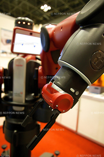 """The robot of Rethink Robotics """"baxter"""" performs at the Japan Robot Week 2014 on October 16, 2014 in Tokyo, Japan. Companies at the """"Japan Robot Week 2014"""" exhibited their latest high-tech nursing and life supporting robots. The 2014 edition of the show ran from October 15 to 19 at Tokyo Big Sight. (Photo by Rodrigo Reyes Marin/AFLO)"""