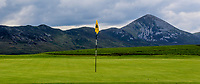 A view of the 14th green with Croagh Patrick in the back ground during the Preview of the AIG Cups & Shields Connacht Finals 2019 in Wesport Golf Club, Westport, Co. Mayo on Thursday 8th August 2019.<br /> <br /> Picture:  Thos Caffrey / www.golffile.ie<br /> <br /> All photos usage must carry mandatory copyright credit (© Golffile | Thos Caffrey)