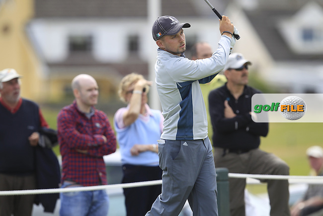 Keith Egan (Carton House) on the 1st tee during Matchplay Round 4 of the South of Ireland Amateur Open Championship at LaHinch Golf Club on Saturday 25th July 2015.<br /> Picture:  Golffile   TJ Caffrey