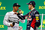 (L to R) Lewis Hamilton (Mercedes AMG), Sebastian Vettel (Red Bull), <br /> OCTOBER 5, 2014 - F1 : Japanese Formula One Grand Prix Award ceremonyat Suzuka Circuit in Suzuka, Japan. (Photo by AFLO SPORT) [1180] GERMANY OUT