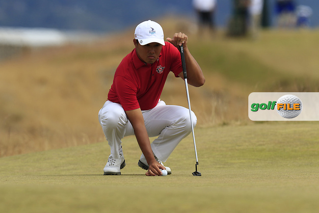 Gunn Yang (KOR) on the 17th green during Thursday's Round 1 of the 2015 U.S. Open 115th National Championship held at Chambers Bay, Seattle, Washington, USA. 6/18/2015.<br /> Picture: Golffile | Eoin Clarke<br /> <br /> <br /> <br /> <br /> All photo usage must carry mandatory copyright credit (&copy; Golffile | Eoin Clarke)