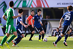 Haraguchi Genki of Japan (C) in action during the AFC Asian Cup UAE 2019 Group F match between Japan (JPN) and Turkmenistan (TKM) at Al Nahyan Stadium on 09 January 2019 in Abu Dhabi, United Arab Emirates. Photo by Marcio Rodrigo Machado / Power Sport Images