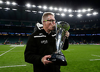 16th November 2019; Twickenham, London, England; International Rugby, Barbarians versus Fiji; Fiji Head Coach John McKee kissing the Killik Cup after his players defeated the Barbarians 33-31 inside Twickenham Stadium - Editorial Use