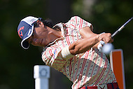 Gainesville, VA - August 1, 2015: Ryo Ishikawa of Japan tees off on the 13th hole in round 3 of the Quicken Loans National at the Robert Trent Jones Golf Club in Gainesville, VA, August 1, 2015. Ishikawa finished the round even, placing him at -11 and tied for third.  (Photo by Don Baxter/Media Images International)