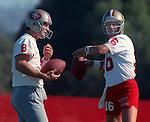 San Francisco 49ers training camp July 26, 1990 at Sierra College, Rocklin, California.  San Francisco 49ers quarterback Joe Montana (16) and  quarterback Steve Young (8).