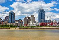 View of the Cincinnati skyline including the baseball stadium for the Cincinnati Reds